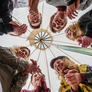 Rhythm workshop with Su Hart (bottom/right) from 'Baka Beyond' in a tipi tent during Green Vision Youth Climate Summit, The Pavilion, Lansdown Road, Bath.  Date: 09/02/2015 Photographer: Artur Lesniak Copyright: Artur Lesniak/Local World